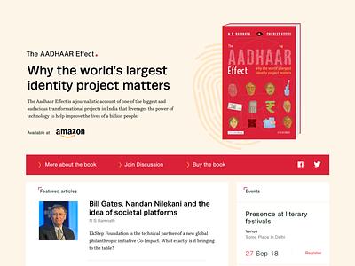 Book Launch Page Design - Aadhaar Effect marketing page interface uidesign aadhaar typogaphy design book webdesign