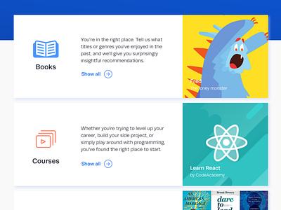 Online Catalogue cards courses books uiux web ui web desgin catalogue