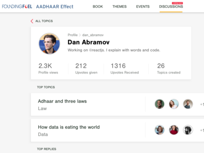 User Profile - Social web app profile topics commenting community discussion ui mockup social