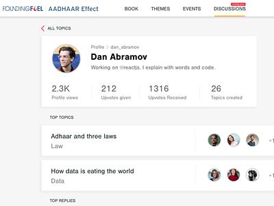 User Profile - Social web app profile topics commenting community discussion ui mockup social