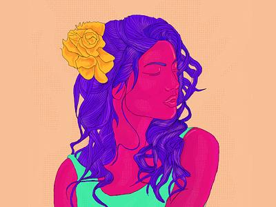 Urvi woman model procreate illustraion portrait art pop vibrant portrait