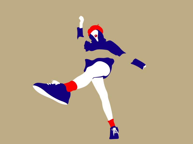Happy dance kick pablo martinez tarradell pamata happy jump white blend illustration clean simple red blue girl woman
