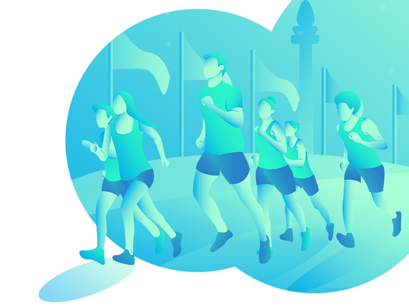 Marathon Run Illustration monas jakarta marathon running gradient characters design character art design character art illustration