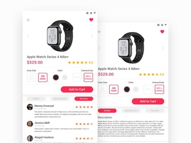 E - Commerce Concept - Smartwatch intaraction design nike apple watch smartwatch mobile apps apps shop ecommerce uiux ux ui ui design