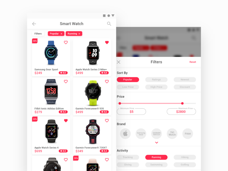 E - Commerce Concept - Smartwatch 1 nike apple watch interaction design ui design smartwatch filters mobile apps apps ecommerce ui ux ux ui