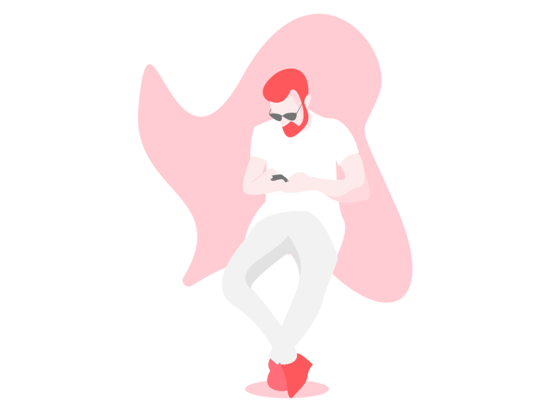 Man with a Smartphone Illustration illustration art red man character art character art illustration