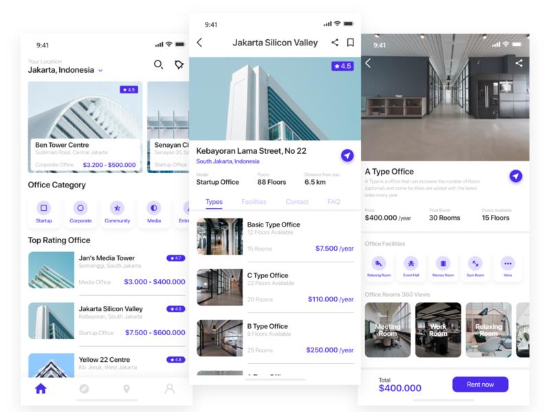 Office Rent Apps interaction apps design office rent office rent uiux mobile app apps ux ui design ui