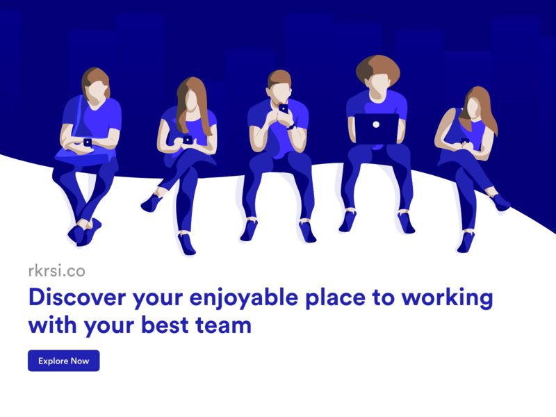 Hero Page landing page hero page work working space character art character web design vector illustration ui design ui