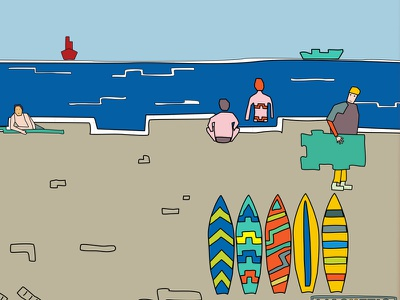 Afternoon at the beach surf beach sea illustration