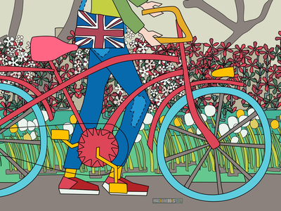 Power Flowers bicycle flowers illustration