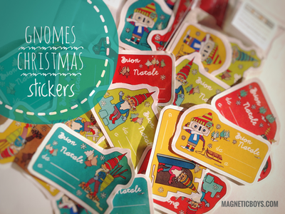It's Christmas Time for Gnomes People 🎄🍄🐿 . kids lutin dwarf gift tags stickers stationery xmas christmas gnome graphic illustration