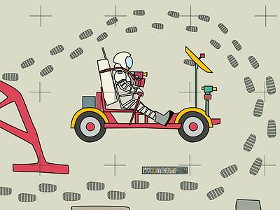 LRV Lunar Rover Vehicle astronaut design scifi moon space graphic illustration