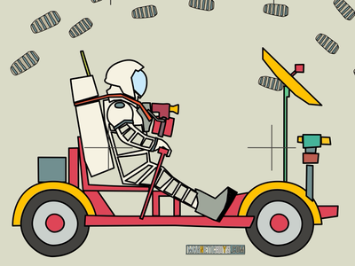 LRV Lunar Rover Vehicle kids science flat scifi nasa astronaut space graphic illustration