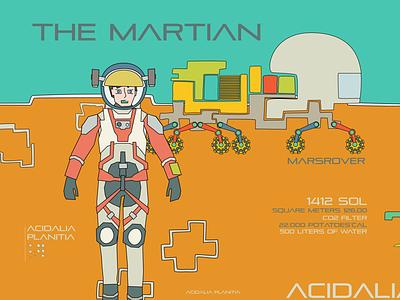 Acidalia Planitia nasa rover mars cartoon comic kids scifi astronaut flat design graphic illustration