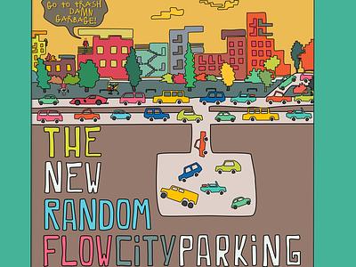 The New Random Flow City Parking street colors city cars car cartoon comics flat graphic illustration