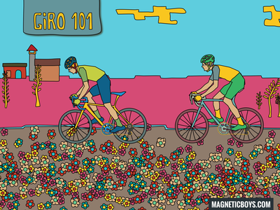 Giro d'Italia 2018 pattern flowers editorial bicycle cycling colors comic draw illustration