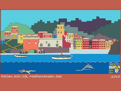 Italian Still Life, Mediterranean Sea artprint summer drawing art italy mediterranean sea landscape illustration