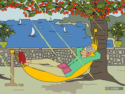 Italian Still Life 🌞🍋⛵️🇮🇹 tree editorial graphic sea botanical fruits flowers italy summer fullcolors drawing illustration