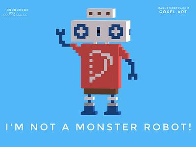 I'm not a monster robot! illustration app kids game digital scifi space character graphic 3d voxel voxelart goxel robot