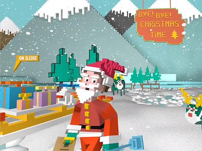 Bye Bye ChristmasTime! character design kids cartoon graphic blender magicavoxel cinema 4d 3d animation 3d childrensillustration illustration