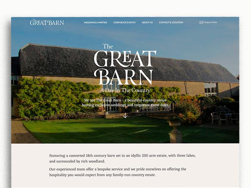 The Great Barn lato esmeralda eczar typogaphy branding rebrand fresh light space barn events weddings homepage thegreatbarn