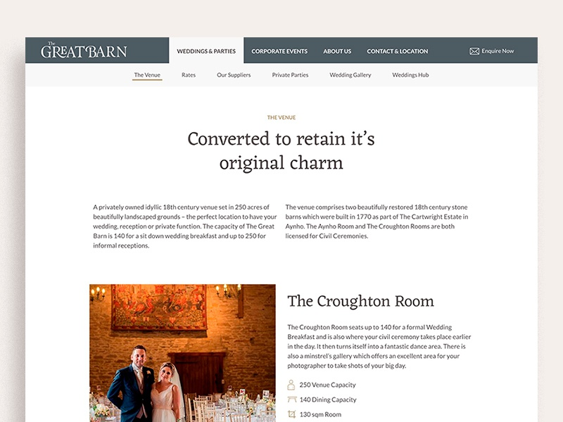 The Great Barn - Venue Page branding typography icons alternatingrows estate barn room venue