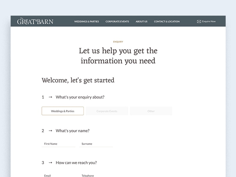 The Great Barn - Enquiry Page journey form process conversational contact enquiry