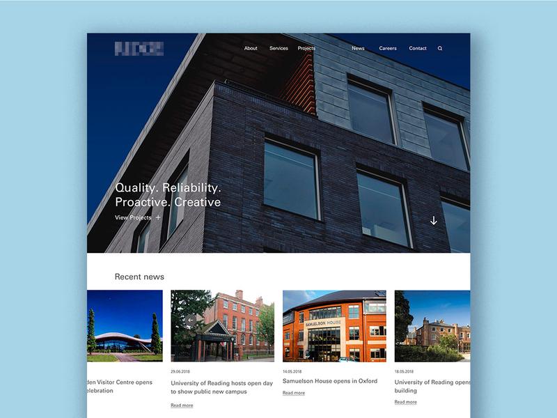 Architect landing page concept homepage landingpage carousel fullscreen