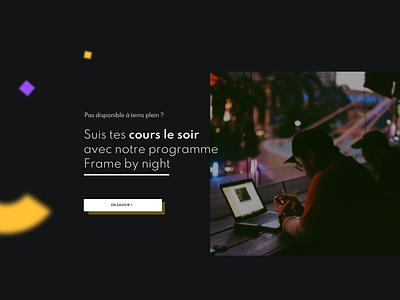 Section Frame by night - Match Frame design thinking concept ui design dark mode 3d effect blur webdesign section