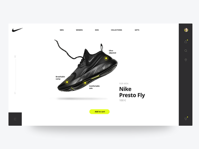 Product page for Nike