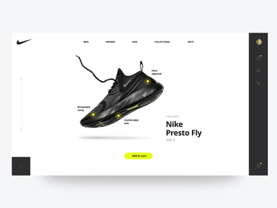 Product page for Nike user experience ux ui design add to cart webdesign nike running
