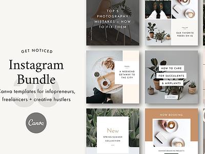 Instagram Canva Bundle media social premade photoshop minimalists lifestyle bundle instagram design graphic canva blogger