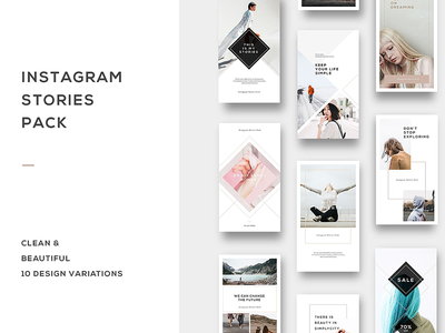Instagram Stories Pack social premade photoshop minimalists media lifestyle instagram graphic design canva bundle blogger