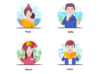 Avatar Happy smiling human design vectors illustrations people avatar
