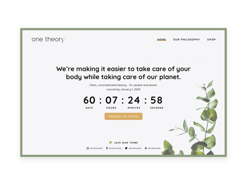Countdown timer homepage timer uiux ui desktop green white minimal clean homepage countdown timer countdown