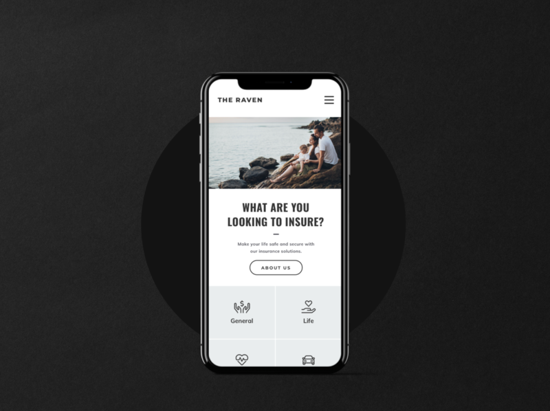 Homepage Mobile ux outline mockup insurance minimal clean mobile ui mobile homepage
