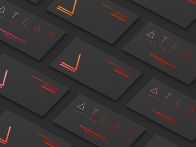 ATLAS typography corporate branding dark busines card tech logo identity branding design