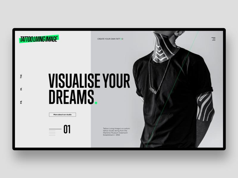 Tattoo Living Image UI corporate branding advertisment logo typography webdesign design branding ui