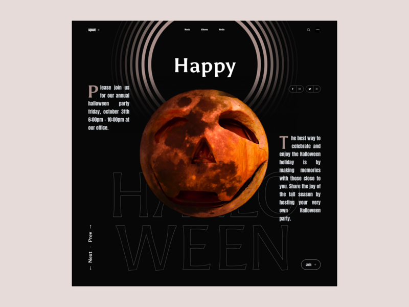 Halloween | Interface Game simple challenge slider interface dark moon typography poster concept creative halloween square