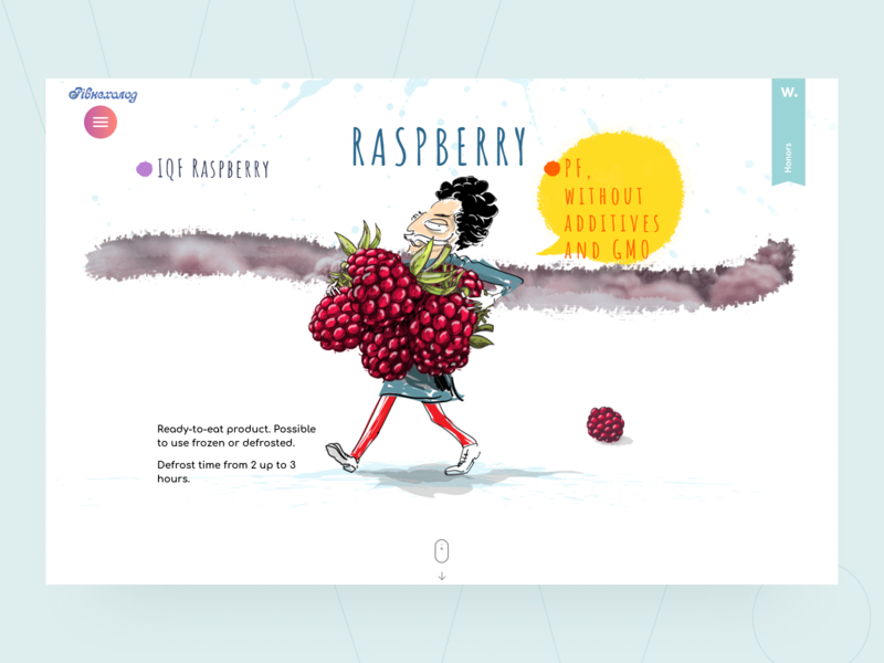 Rivneholod | Awwwards white main screen landing page man illustration illustration header fruits frozen design creative awwwards animation