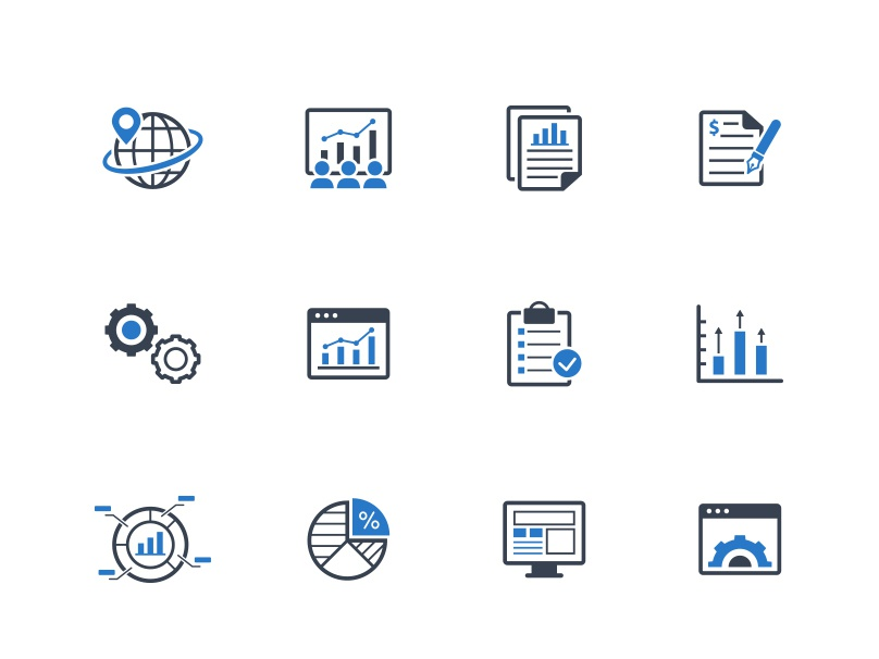 Business Report Icons icon design icon set data graph chart report business illustration vector ui icons icon