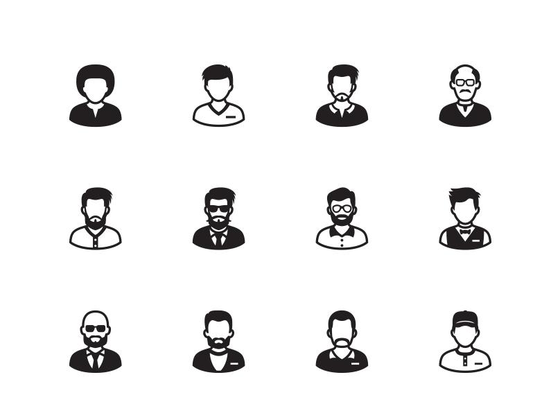Man Avatar Icons account profile user icon design icon set avatar illustration vector ui icons icon