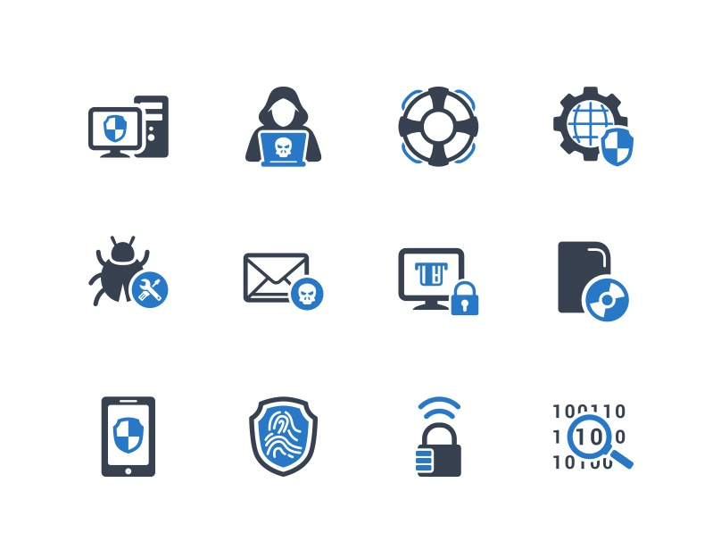 Cybercrime & Internet Security Icons technology computer antivirus security internet cybercrime illustration vector ui icon design icon set icons icon