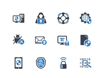 Cybercrime & Internet Security Icons