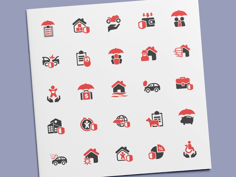 Risk & Insurance Icons protection security disaster finance business insurance risk illustration vector ui icon set icon design icons icon