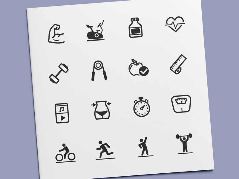 Fitness Icons exercise health training vector ui sport workout gym fitness icon set icon design icons icon