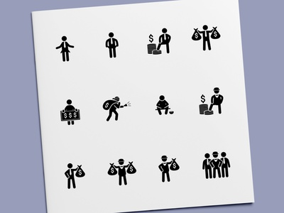 Stick Figure - Rich & Poor People Icons money stick figure businessman people wealthy wealth broke poor rich icon set icon design icons icon