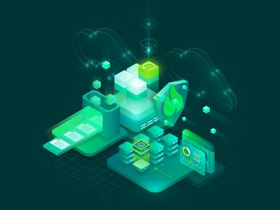 Backup and recovery illustration shield monitoring server cloud vm virtual machine backup vector isometric illustration green isometric illustration