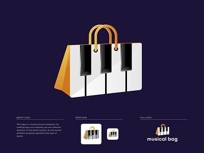 Musical Bag Logo Design hand bag bag brand guide keyboard musical brand colors illustration brand guideline branding brand identity logo design logo