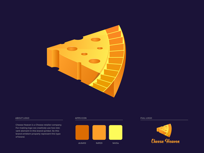 Cheese Heaven Logo Design heaven brand guide orange steps cheese brand colors illustration brand guideline brand identity branding logo design logo